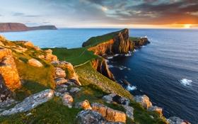 Обои закат, камни, мыс, Milovaig, небо, маяк, Шотландия