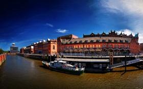 Обои город, река, фото, дома, яхта, Германия, Гамбург
