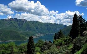 Обои озеро Лугано, Ticino, Lake Lugano, Switzerland, горы, San Grato Botanical Park, парк