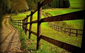 Обои дорога, поле, забор