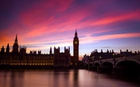 Обои город, река, мост, лондон