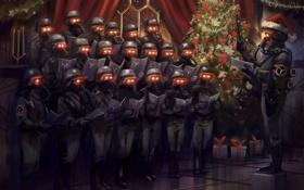 Обои маски, рождество, Christmas, елка, игра, Killzone 3
