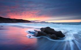 Картинка море, волны, пляж, небо, закат, камни, океан