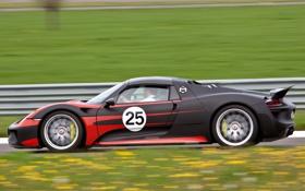 Обои авто, Prototype, Porsche, вид сбоку, в движении, 918, 2013