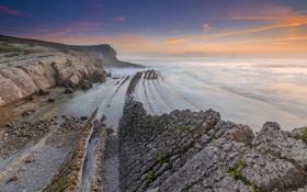 Обои море, закат, скалы, Spain, Costa Quebrada, Costa de Cantabria