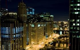 Обои ночь, огни, небоскребы, чикаго, Chicago
