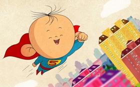 Обои арт, полёт, супермен, детская