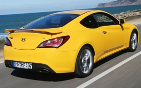 Обои car, Hyundai, yellow, Coupe, speed, Genesis