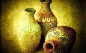 Картинка древность, антиквариат, кувшины, глиняные