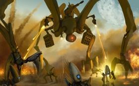 Обои небо, огонь, планета, Робот, нападение, выстрелы, инопланетяне