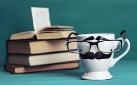 Обои lips, очки, books, mustache, cute, funny, кофе