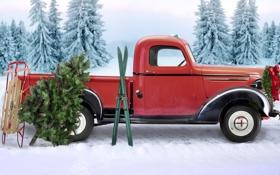 Обои лес, лыжи, ёлка, сани, рождественский венок, Машина Санты