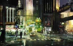 Картинка машины, ночь, город, огни, люди, арт, Stranglehold