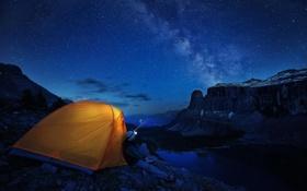 Обои лес, горы, ночь, озеро, путешественник, палатка, ущелье
