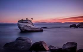 Обои скала, озеро, Rock, сша, Nevada, Tahoe, Lake