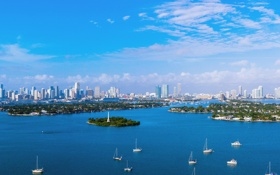 Обои пляж, океан, здания, яхты, Майами, Флорида, Miami