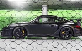 Картинка черный, тюнинг, Porsche, суперкар, сбоку, Techart, Street R