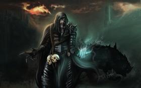 Обои магия, монстр, арт, капюшон, когти, черепа, мужчина