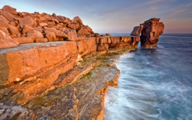 Обои beach, sea, rocks, cliff