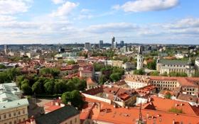 Картинка небо, облака, дома, крыши, вид сверху, улицы, Литва