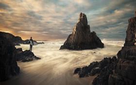 Картинка волны, облака, скала, океан