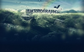 Обои надпись, desktopography, птичка, дерево