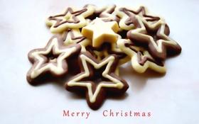 Обои праздник, шоколад, рождество, звёзды, конфеты