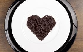 Обои любовь, сердце, шоколад, тарелка, love, heart, chocolate