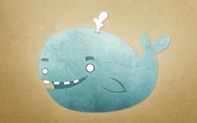 Обои улыбка, зубы, кит, фонтан