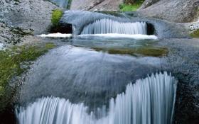 Обои камни, мох, речка
