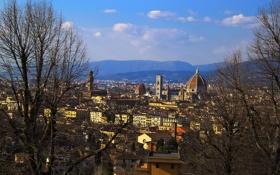 Картинка небо, деревья, пейзаж, горы, дома, Италия, Флоренция