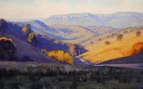 Обои дорога, осень, трава, природа, холмы, долина, арт