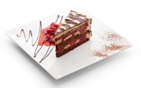 Картинка еда, тарелка, торт, крем, десерт, кусок, сладкое