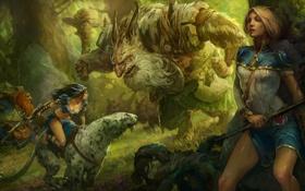 Обои Mikhail Rakhmatullin, девушки, лес, битва, арт, монтсры, хищник