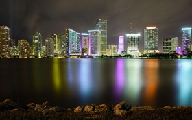 Обои огни, Майами, вечер, Флорида, Miami, florida, vice city