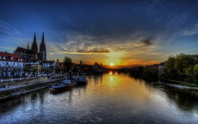 Обои закат, Германия, Germany, sunset, Регенсбург, Regensburg