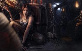 Картинка игра, череп, арт, факел, бандиты, Tomb Raider, game
