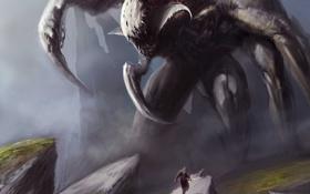 Обои скалы, человек, монстр, меч, арт, пасть, клыки
