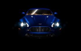 Картинка синий, Aston Martin, фары, суперкар, полумрак, передок, Астон Мартин