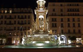 Картинка ночь, огни, Франция, памятник, фонтан, Лион