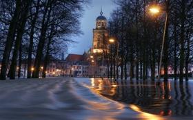Обои город, вечер, лёд