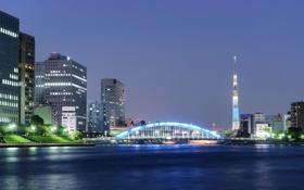Картинка ночь, мост, огни, река, башня, дома, Япония