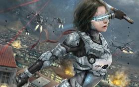 Картинка девушка, будущее, война, корабли, катана