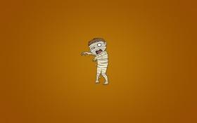 Обои монстр, минимализм, оранжевый фон, мумия, бинты, Mummy
