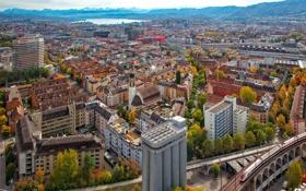 Обои горы, озеро, дома, Швейцария, панорама, Цюрих
