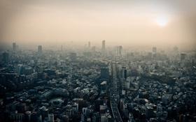 Обои дорога, дым, здания, Азия, Tokyo, Japan, токио