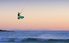 Обои закат, горизонт, небо, полет, море, кайтборд, экстремальный спорт