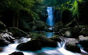 Картинка мох, река, фото, водопад, лес, камни