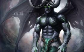Обои эльф, WoW, World of Warcraft, warcraft, art, night elf, demon hunter