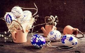Обои цветы, яйца, посуда, корзинка, роспись